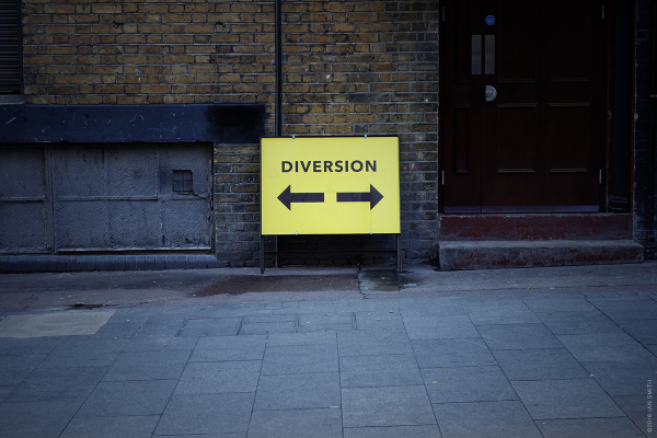 Diversion sign in London