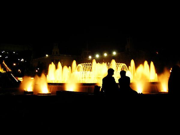 Magic fountains at night