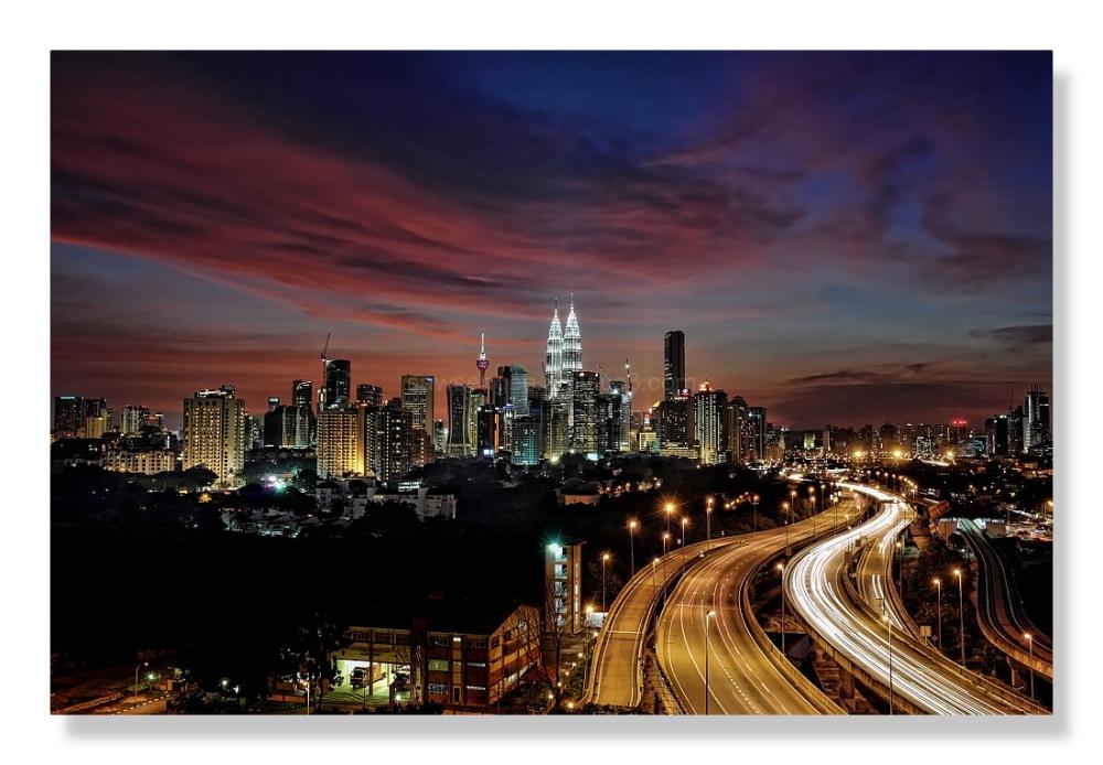 night panorama city skyline highway