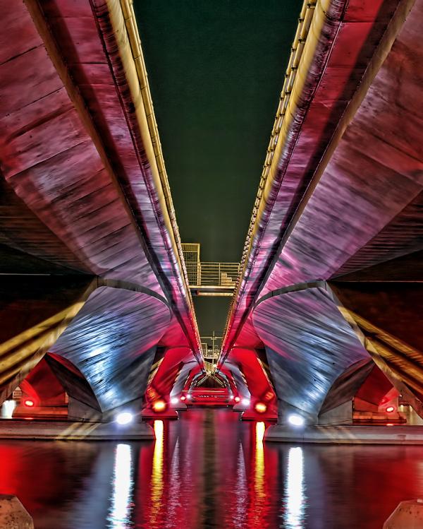 singapore highways underview  river nightscene
