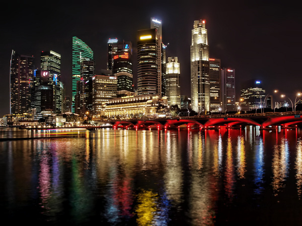singapore urban skyline nightview marina bay