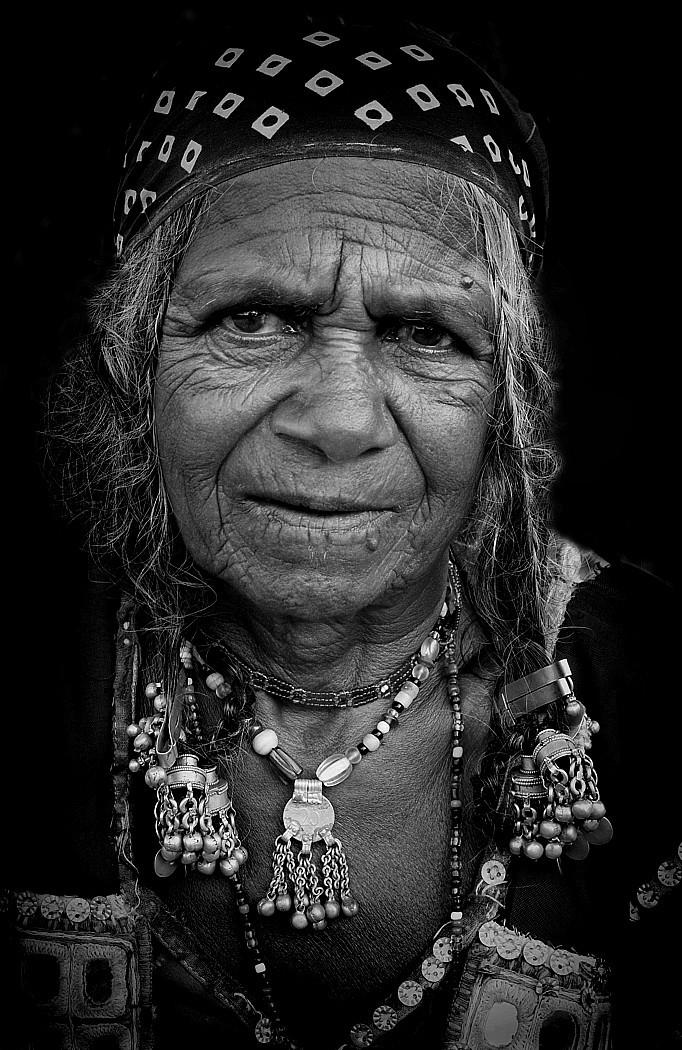 rajasthani woman india portrait monochrome