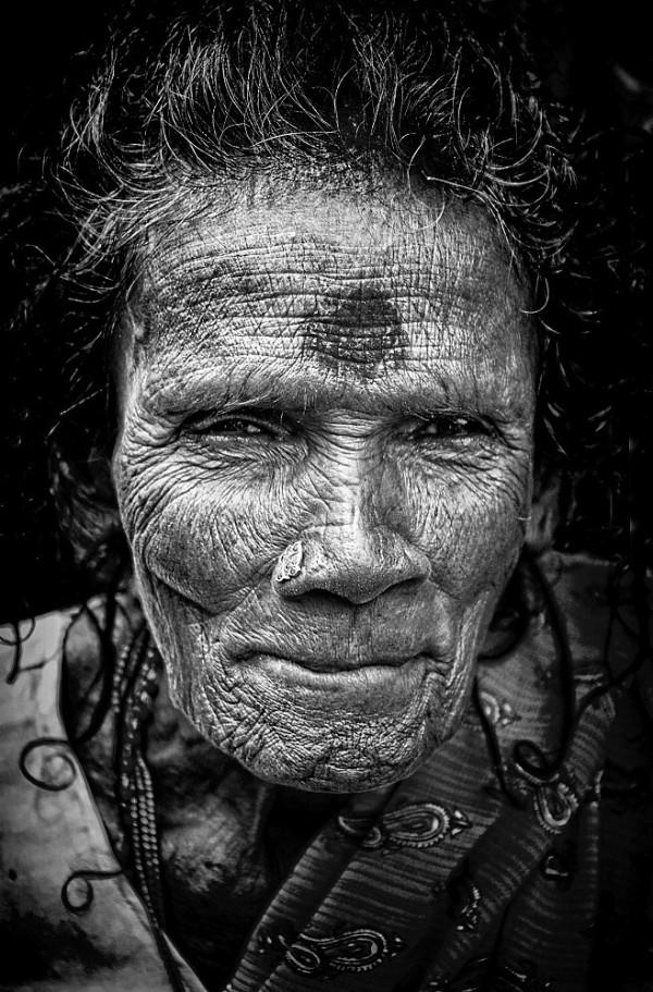 monochrome portrait woman Kanchipuram India