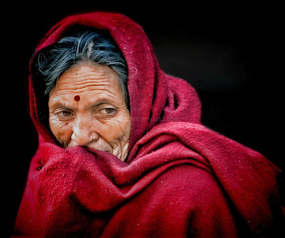 portrait street fruit seller Kathmandu Nepal