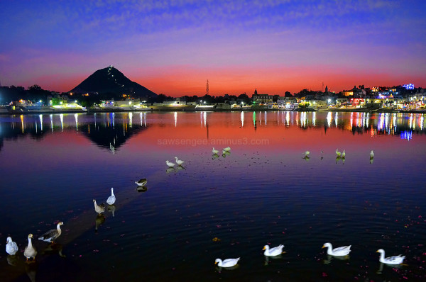 Pushkar lake Rajasthan sunset water reflection