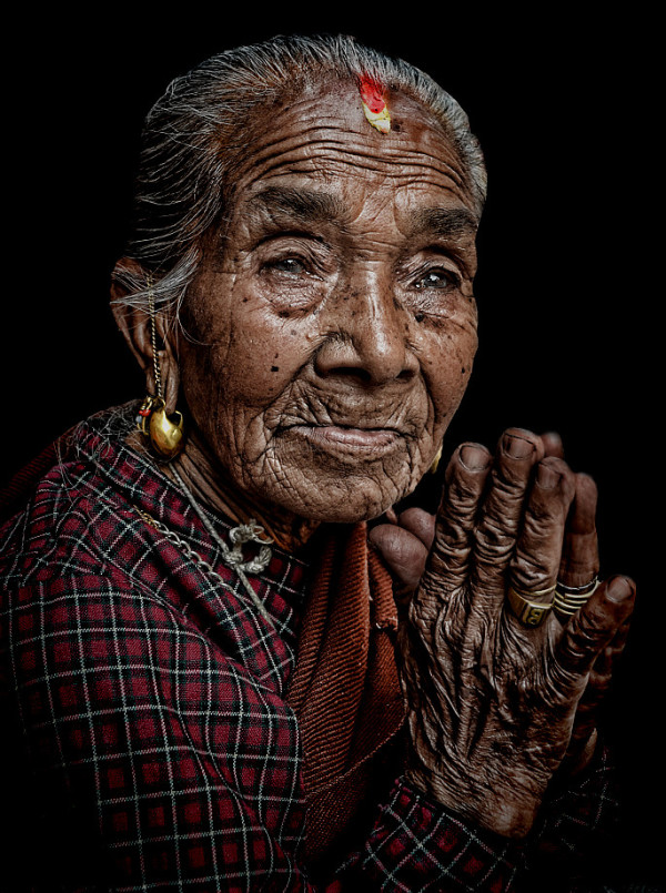 old woman portrait  shrine Bhaktapur Kathmandu