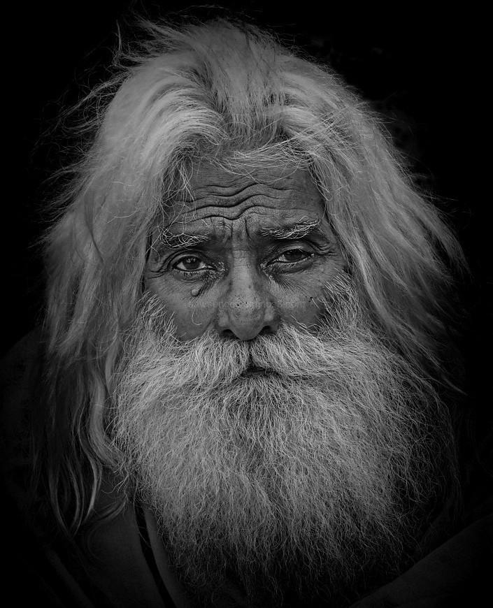 monochrome portrait sadhu Varanasi India