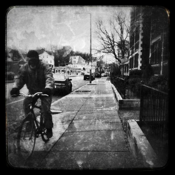 boston, dark, black, man, bike, street, city, urba