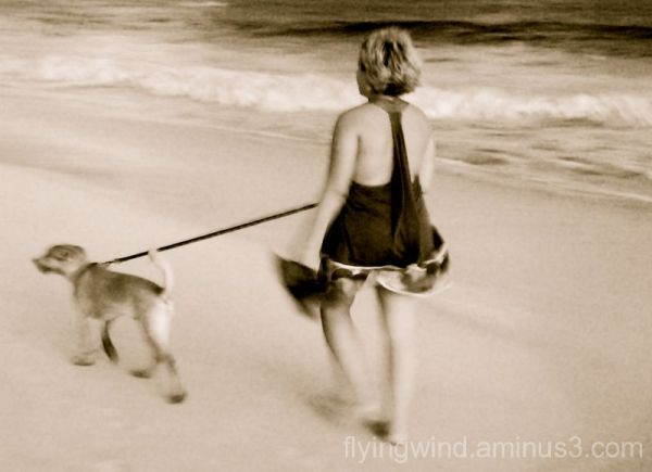 beach, woman and dog