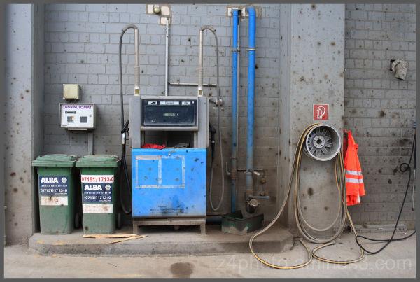 old gas station,stuttgart germany hafen, harbour