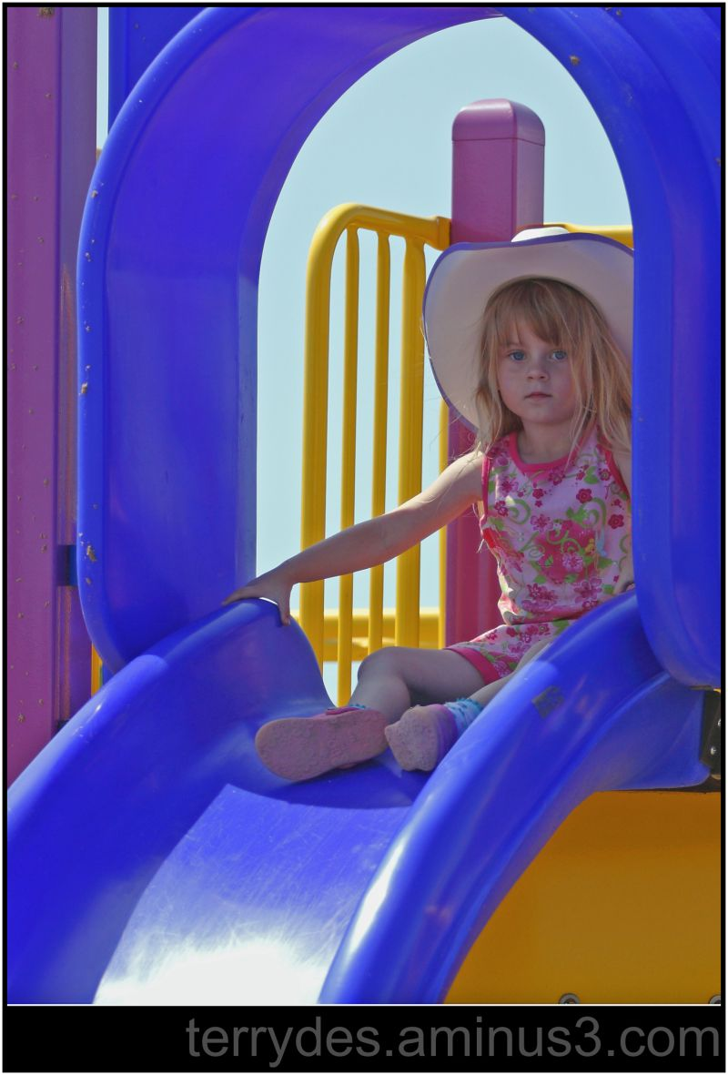 My cousin's daughter on the playground.