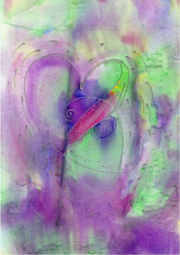 silk rainbow heart