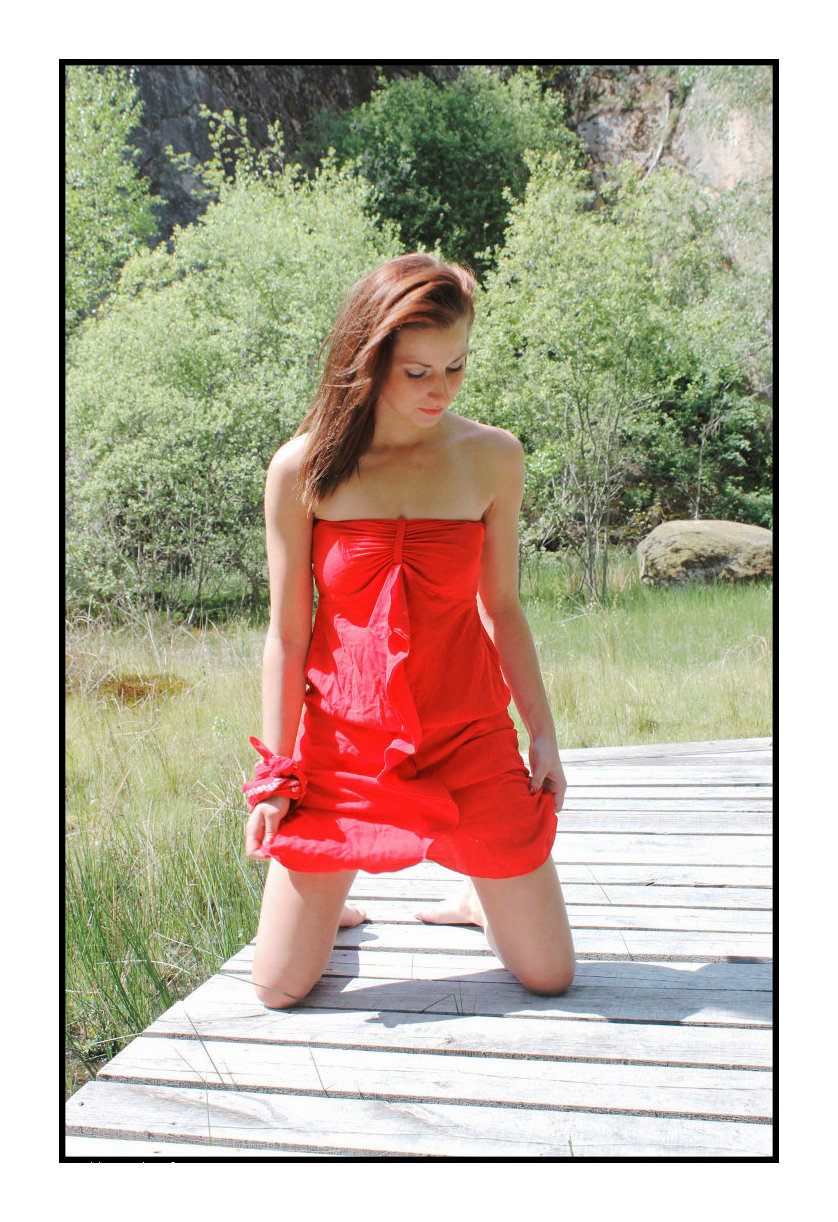 ... RED DRESSED LADY ON THE WOODEN BRIDGE ...