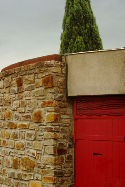 Red door faclity on a french highway resting area