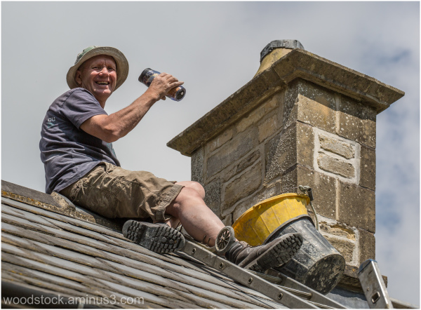 Steve sorting out our chimney....