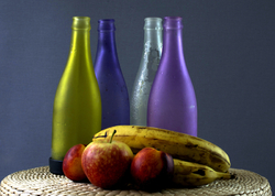 Coloured Bottles And Fruit