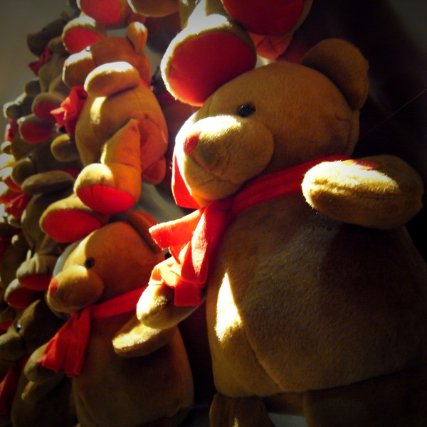 Toy bears on the wall