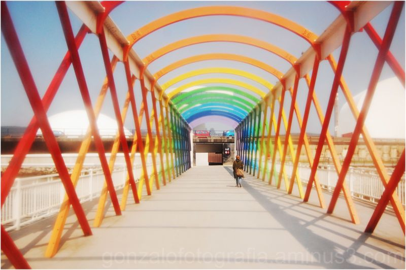 Avilés: colored bridge of illusions.