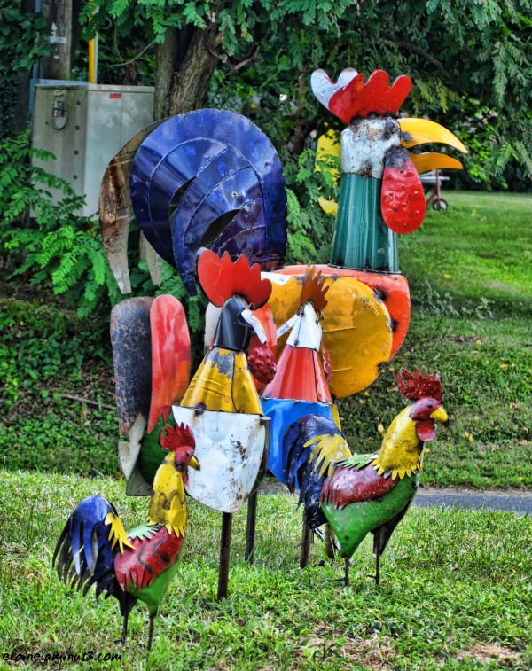 chicken sculptures