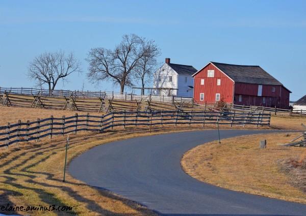 road and barn