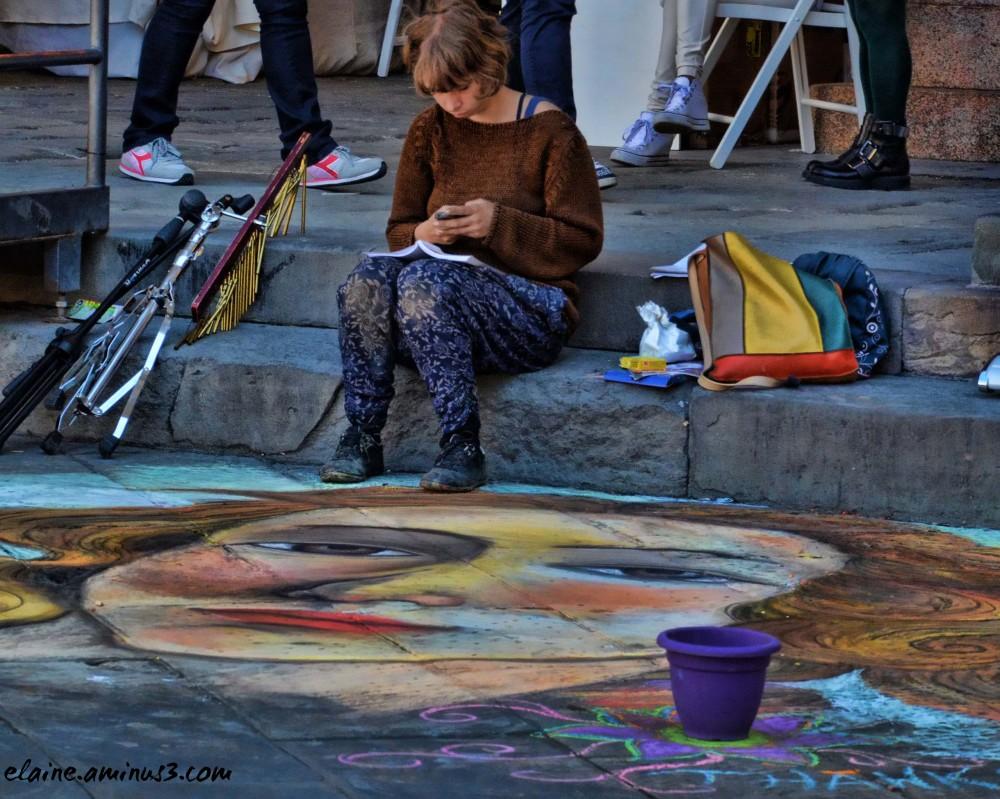 sidewalk portrait