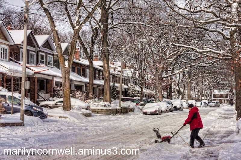 Winter snow clearing in the city
