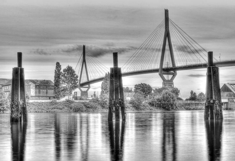 Köhlbrandbrücke, a big bridge in Hamburg.