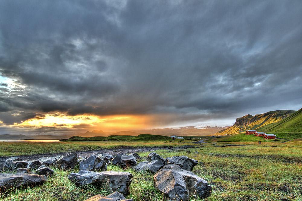 Iceland Reynisdrangar Myrdalsjökull