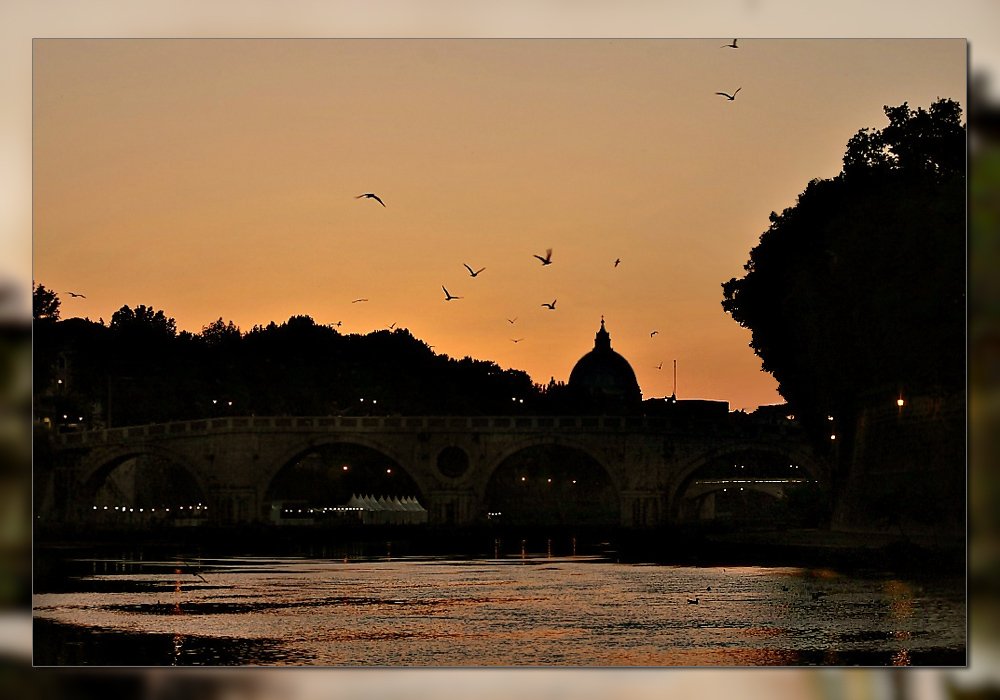 along the Tiber in the summer