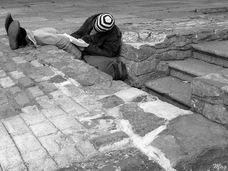 A reader asleep in St Stephen, Dublin