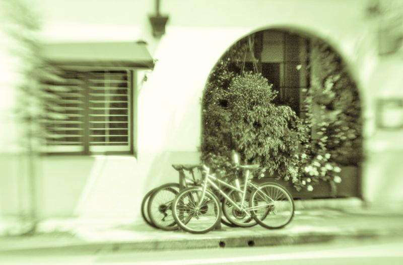 Bicycles on East Ortega Street, Santa Barbara, CA