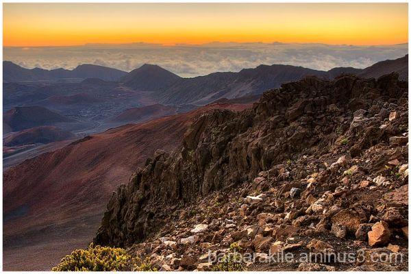 The crater of Haleakala volcano near sunrise