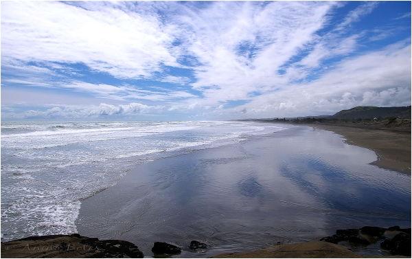 Summer, beach, clouds, blue, sky