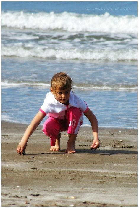 Anja, Beach, Playing, Summer