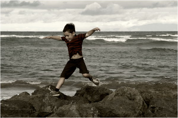 Jump, beach, rocks, boy