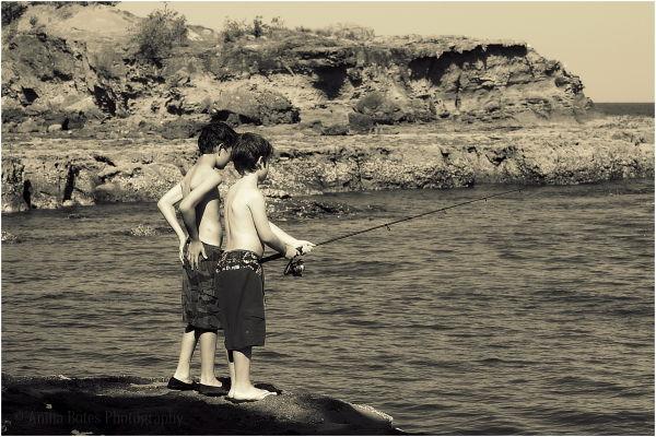 Boys, Fishing, Rocks, Beach, Sepia