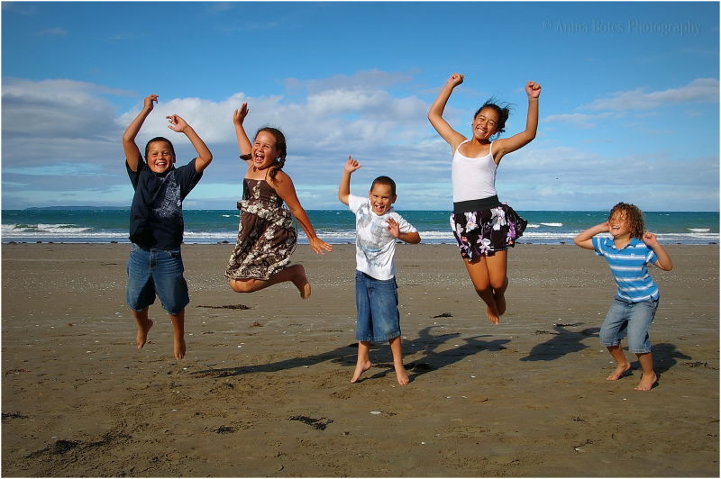 Kids, Family, Beach, Jump