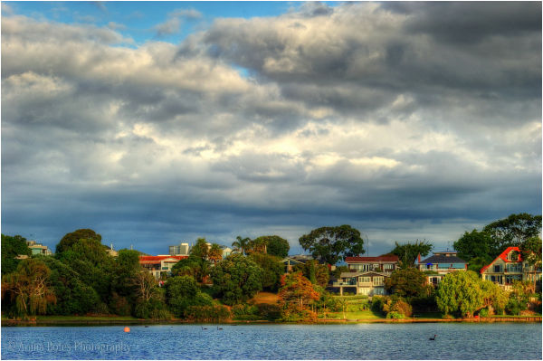 lake, houses, trees, clouds, view, bright, colours