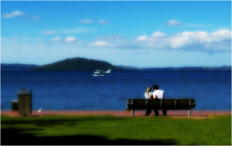 Couple, Love, Bench, Lake, Colours, NZ