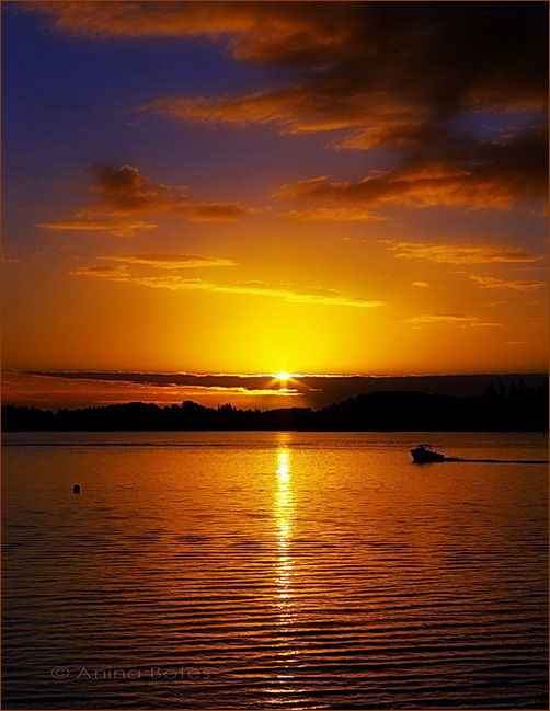 Sunset, Lake, Orange, NZ