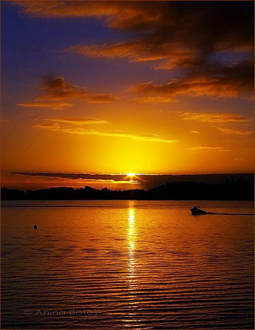 Sunset, Lake, Orange, NZ