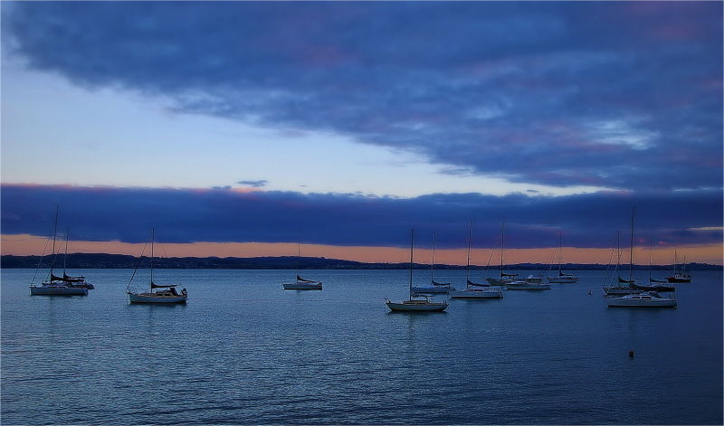 Yachts, Night, Sunset, Waiheke Island, Blue, NZ