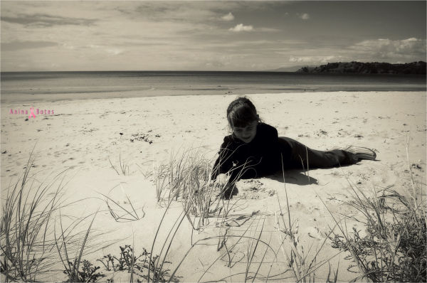 Beach, Sand, Girl, Sepia, NZ
