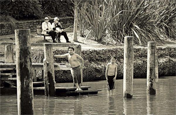 Waikato River, Boys, Swimming, Grannies, NZ