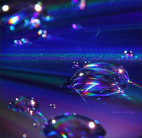cd, water, drops, macro