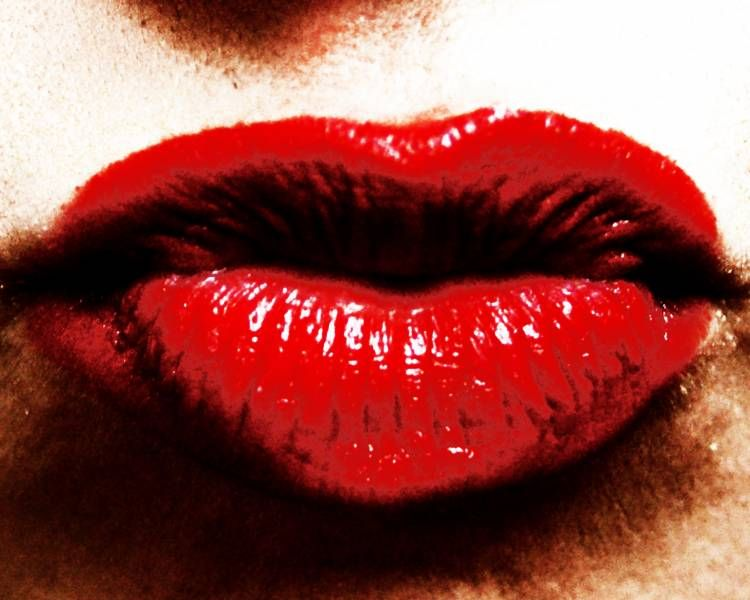 Full Red Puckered Lips