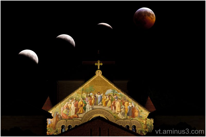 Lunar Eclipse and Memorial Church, Stanford, CA