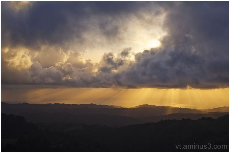God beams over Rolling Hills, Santa Cruz Mt, CA