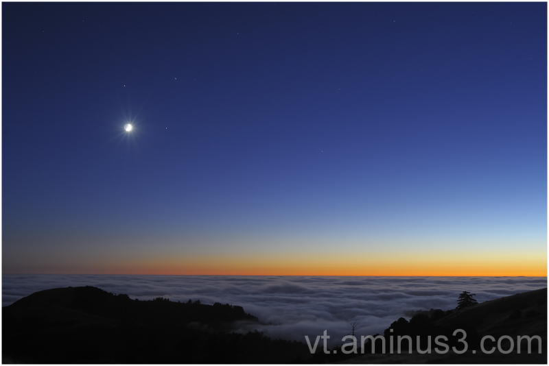 Moon, Saturn, Mars and Spica together at dusk