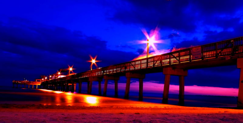 Fort myers boardwalk at sunset long exposure